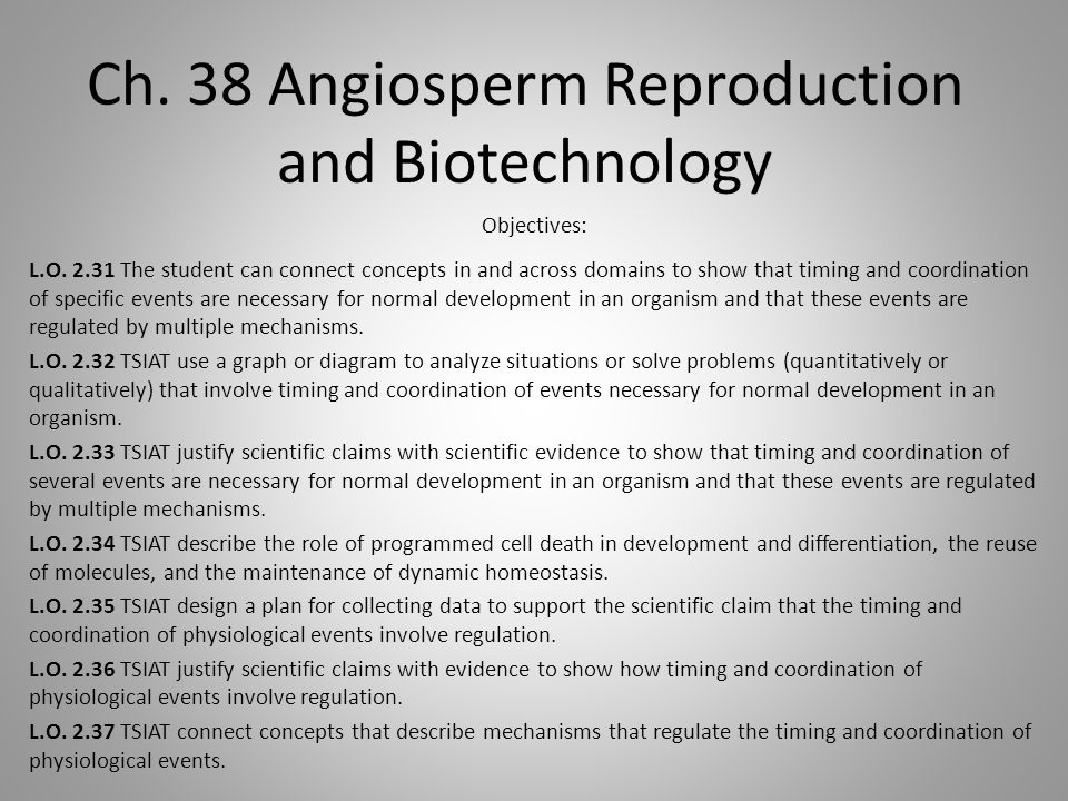 Ch. 38 Angiosperm Reproduction and Biotechnology