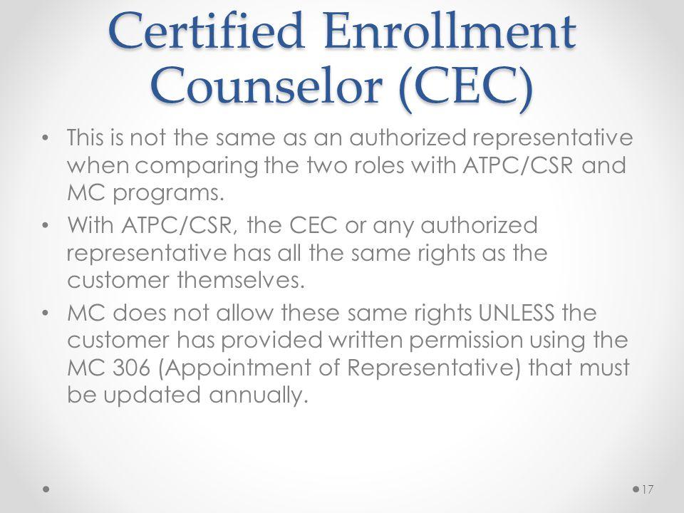 Certified Enrollment Counselor (CEC)