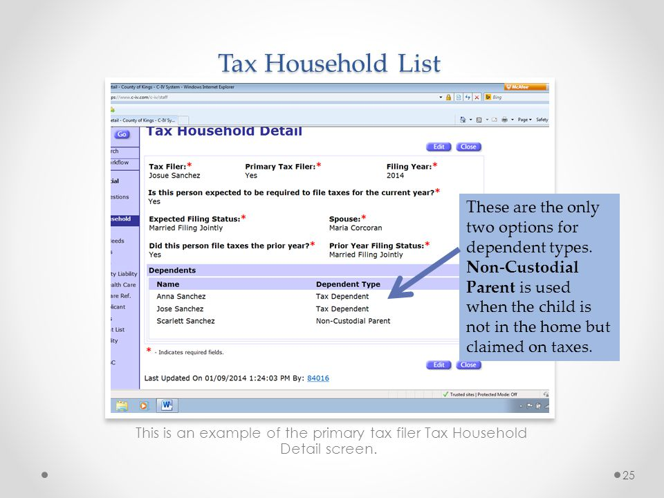 Tax Household List