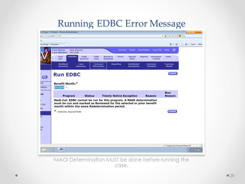 Running EDBC Error Message