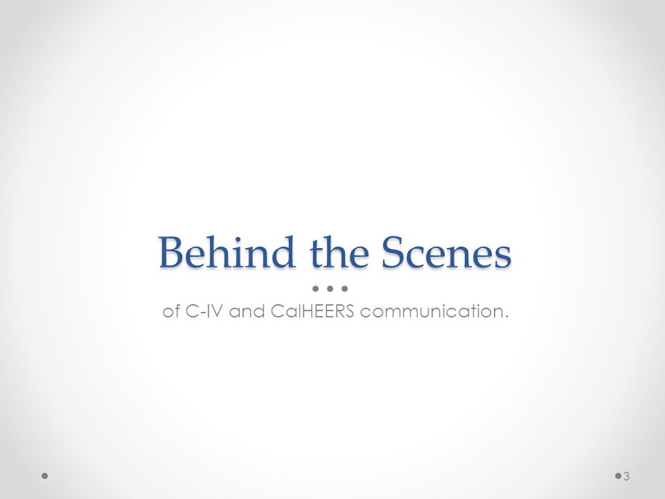 of C-IV and CalHEERS communication.