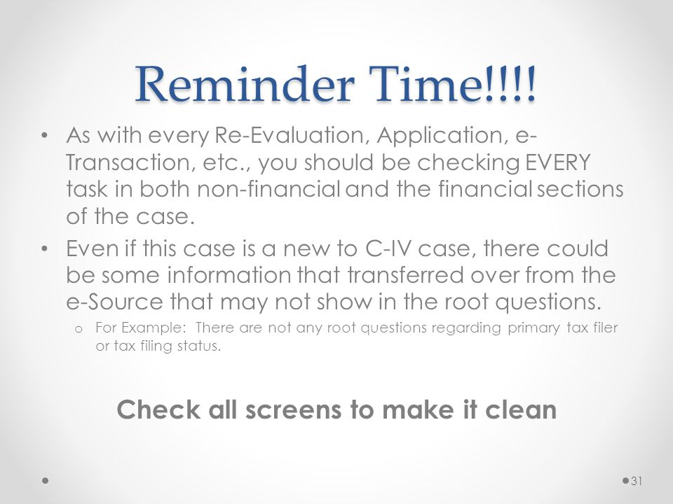 Check all screens to make it clean