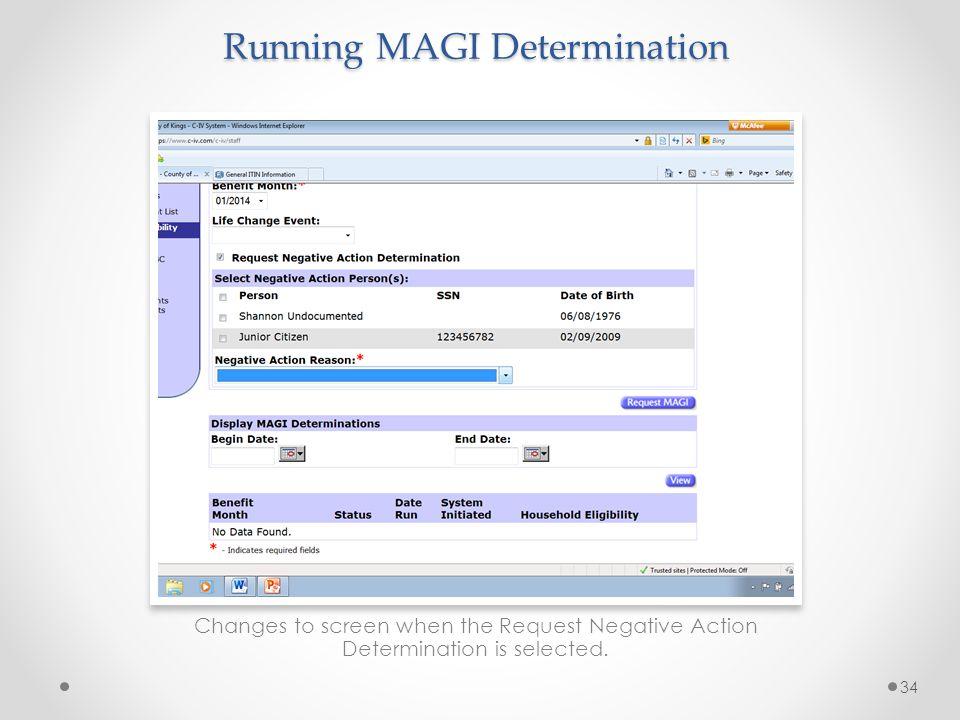 Running MAGI Determination