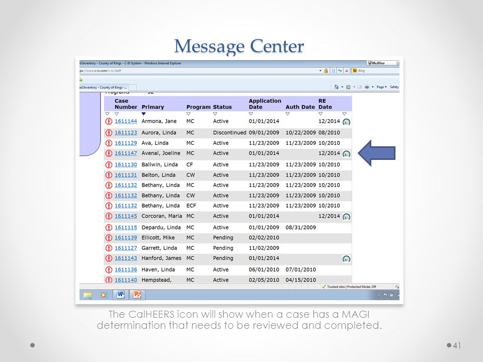 Message Center This is in the event that a worker is unable to work a message from the message center the same day they receive it.