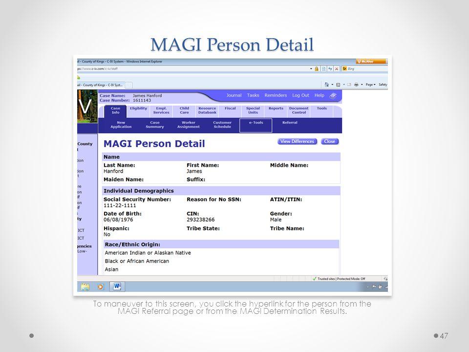 MAGI Person Detail