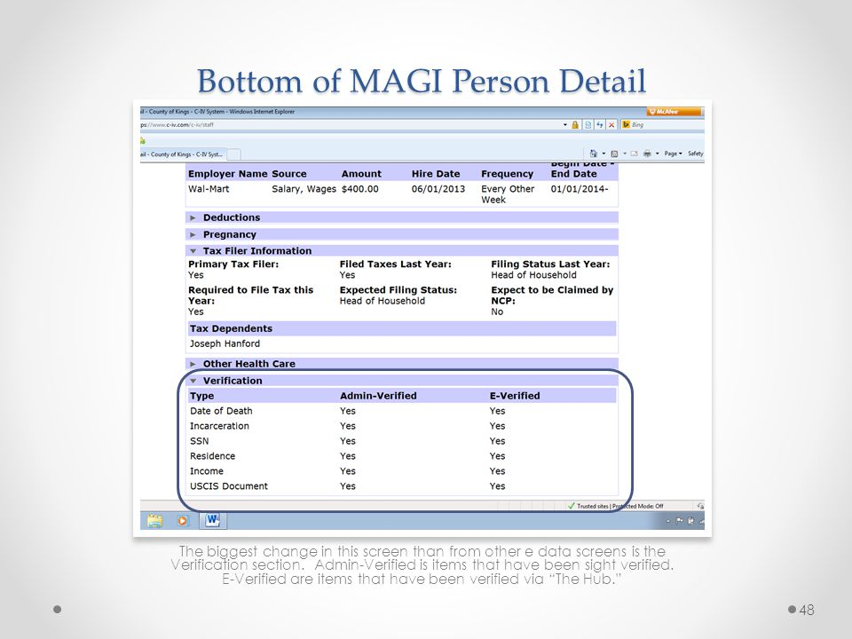 Bottom of MAGI Person Detail