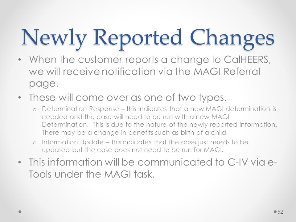 Newly Reported Changes