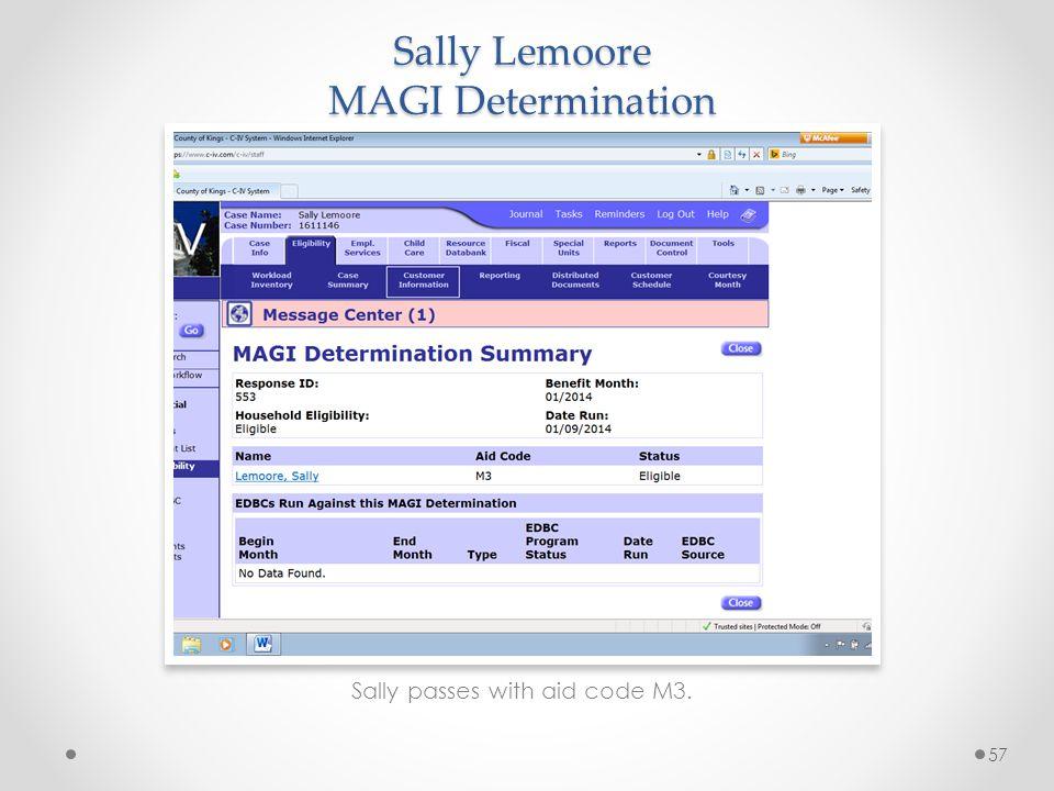 Sally Lemoore MAGI Determination