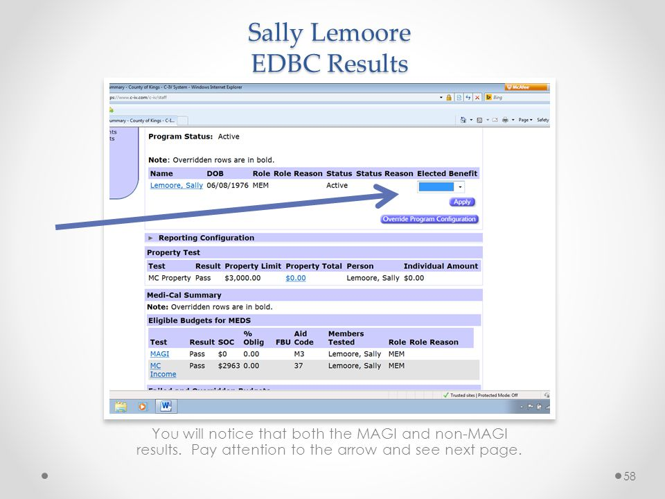 Sally Lemoore EDBC Results