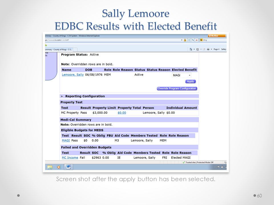 Sally Lemoore EDBC Results with Elected Benefit