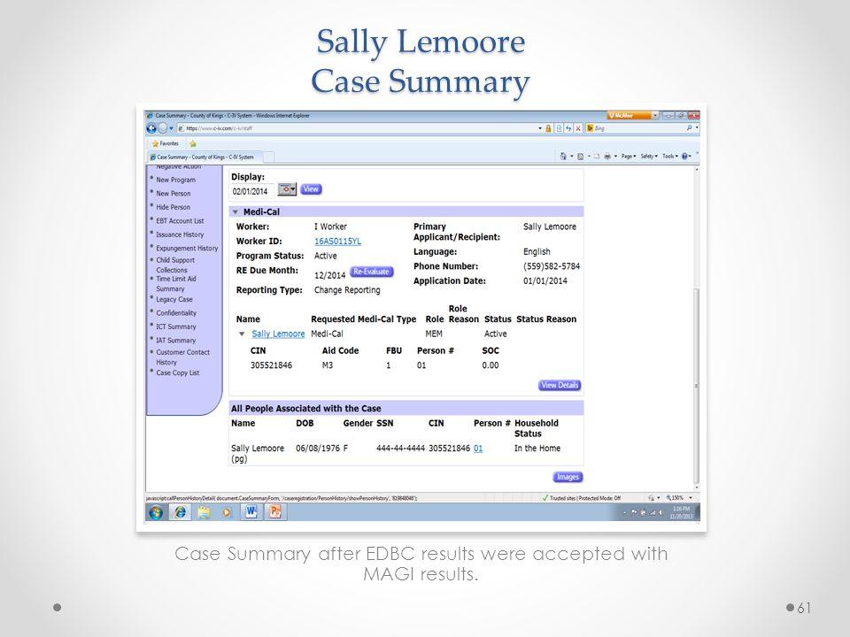 Sally Lemoore Case Summary