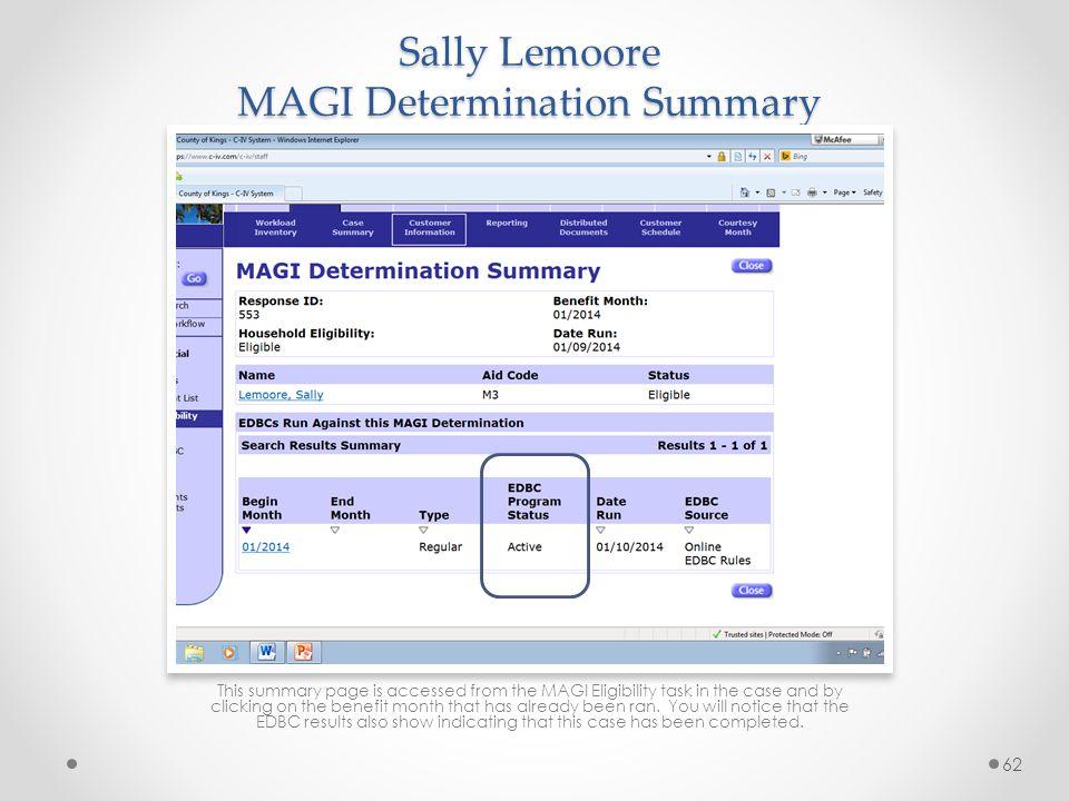 Sally Lemoore MAGI Determination Summary