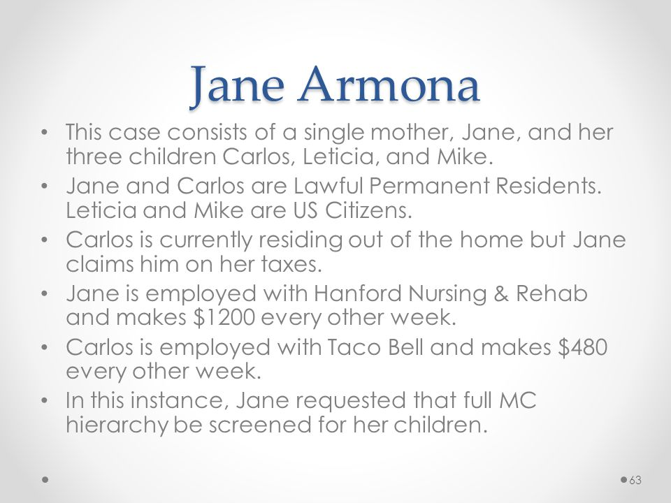 Jane Armona This case consists of a single mother, Jane, and her three children Carlos, Leticia, and Mike.