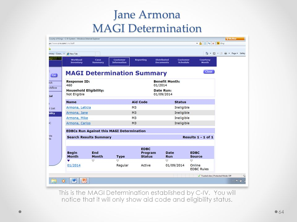 Jane Armona MAGI Determination