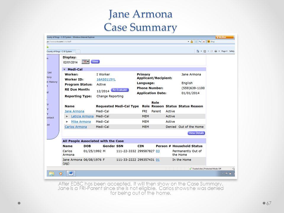 Jane Armona Case Summary