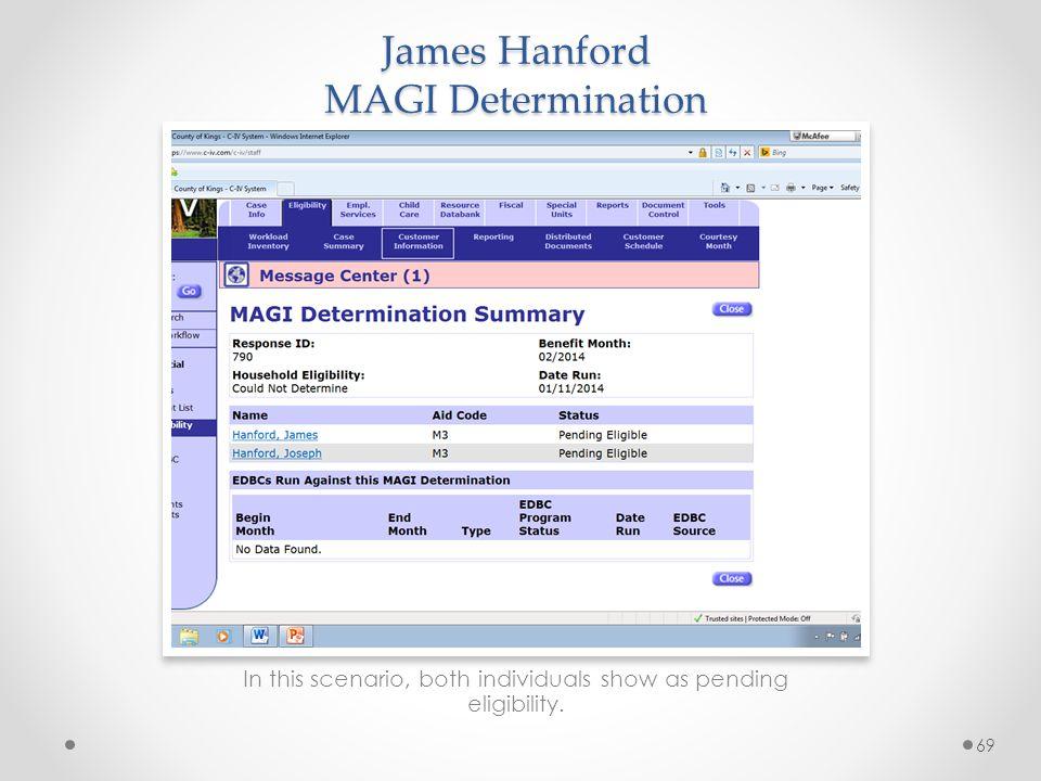 James Hanford MAGI Determination