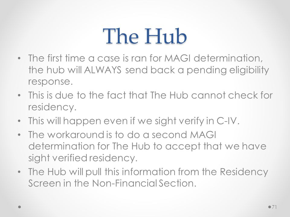 The Hub The first time a case is ran for MAGI determination, the hub will ALWAYS send back a pending eligibility response.