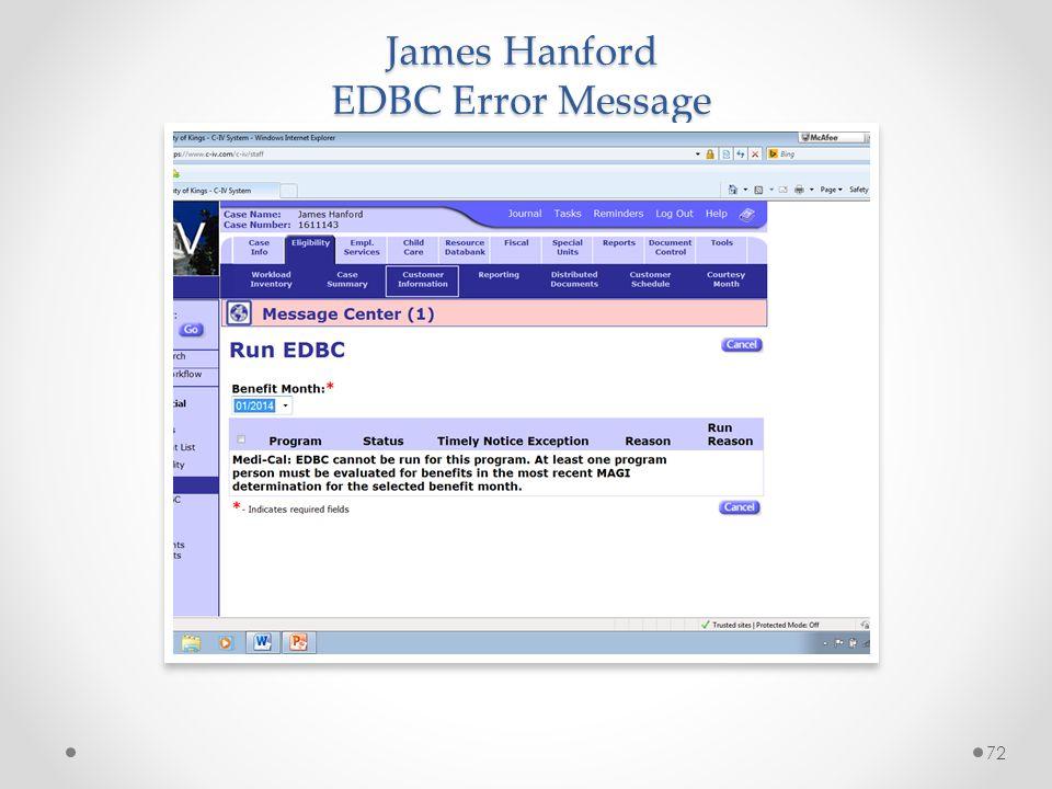James Hanford EDBC Error Message