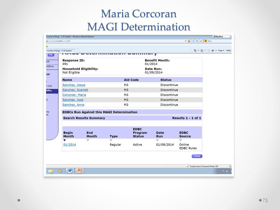 Maria Corcoran MAGI Determination