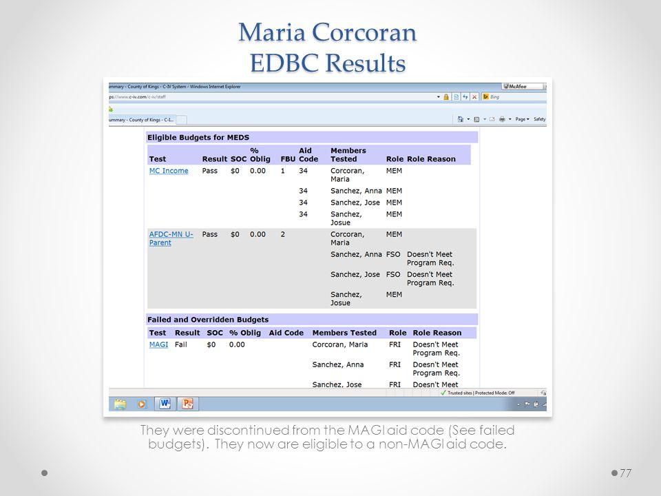 Maria Corcoran EDBC Results