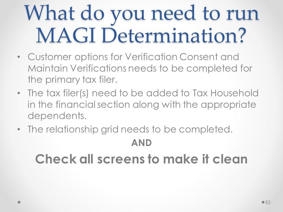 What do you need to run MAGI Determination