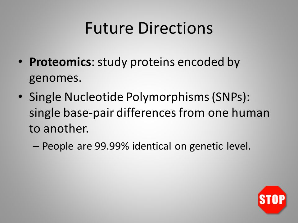 Future Directions Proteomics: study proteins encoded by genomes.