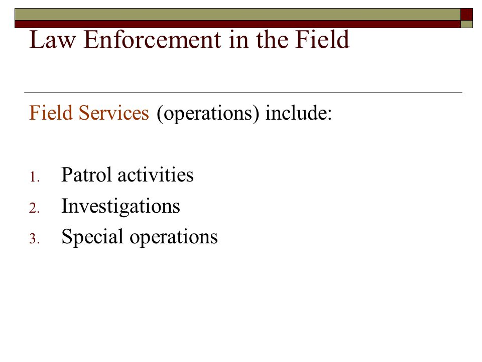 Law Enforcement in the Field