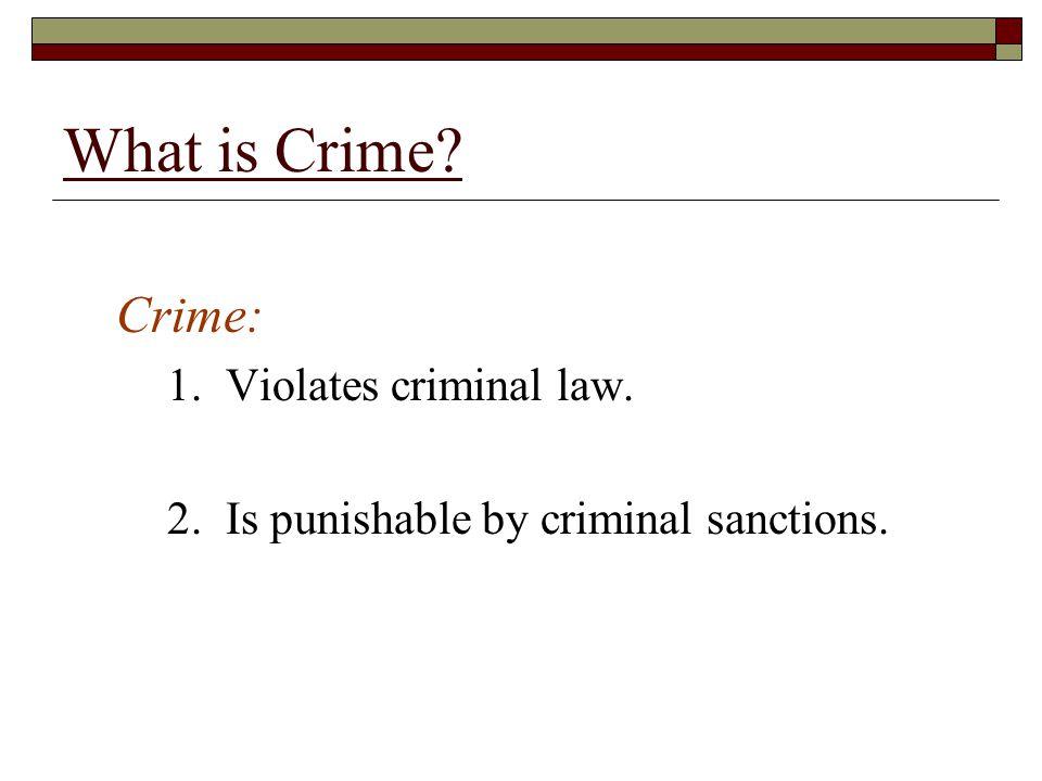 What is Crime Crime: 1. Violates criminal law.