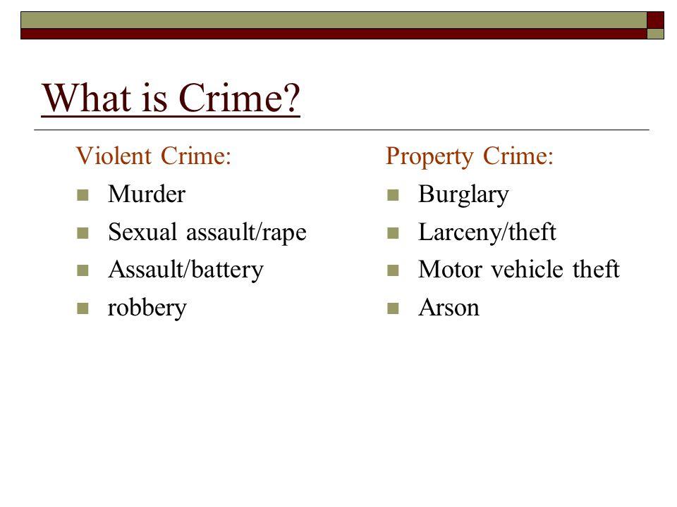 What is Crime Violent Crime: Murder Sexual assault/rape