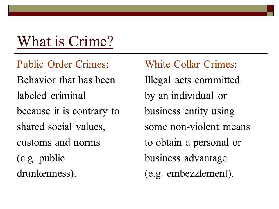 What is Crime Public Order Crimes: Behavior that has been