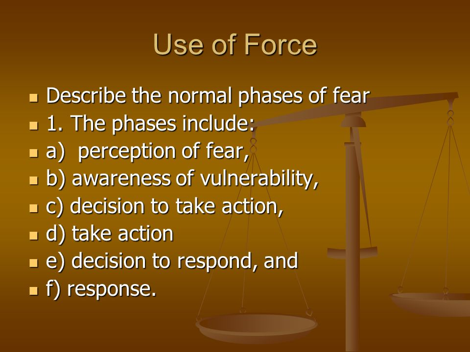 Use of Force Describe the normal phases of fear 1. The phases include: