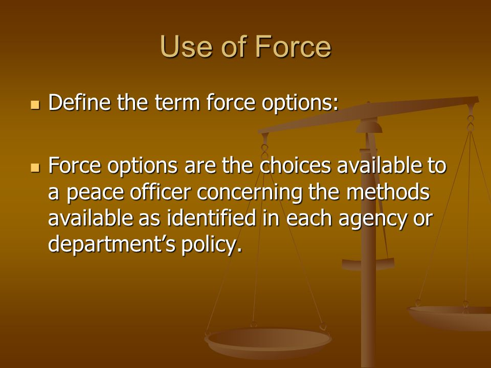 Use of Force Define the term force options: