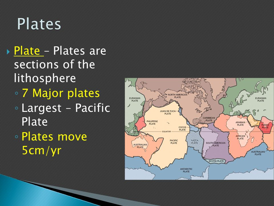 Plates Plate – Plates are sections of the lithosphere 7 Major plates