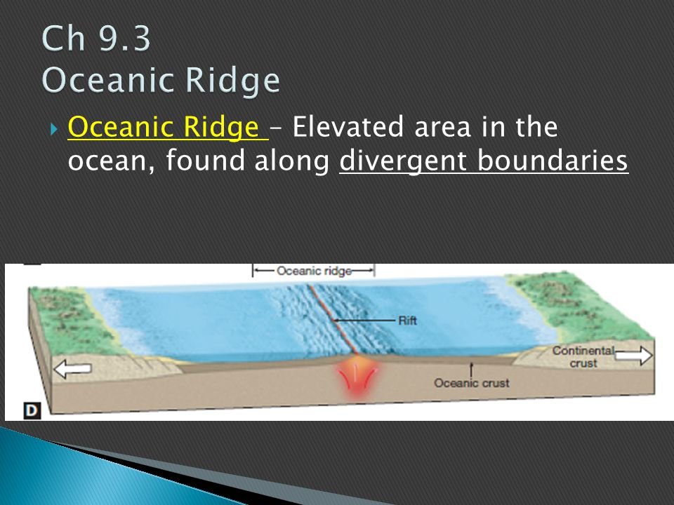 Ch 9.3 Oceanic Ridge Oceanic Ridge – Elevated area in the ocean, found along divergent boundaries