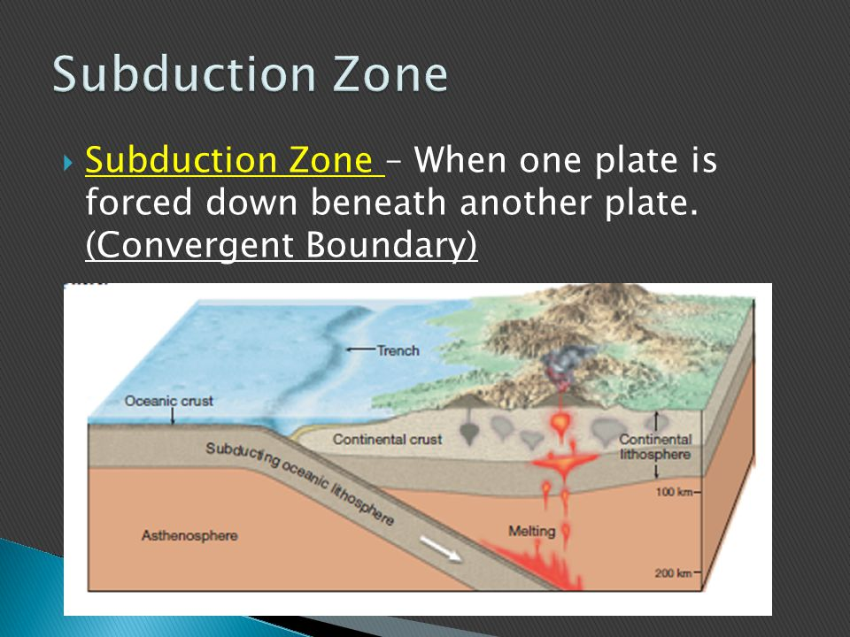 Subduction Zone Subduction Zone – When one plate is forced down beneath another plate.