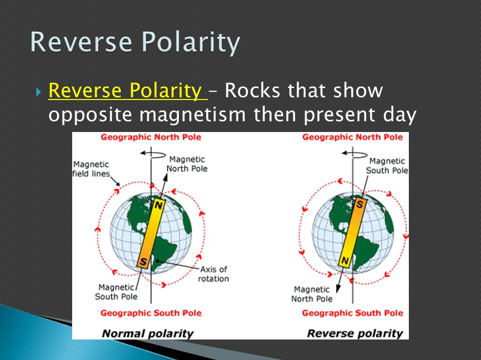 Reverse Polarity Reverse Polarity – Rocks that show opposite magnetism then present day