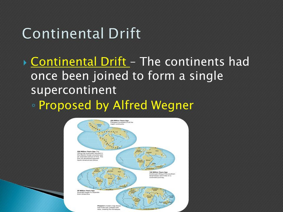 Continental Drift Continental Drift – The continents had once been joined to form a single supercontinent.