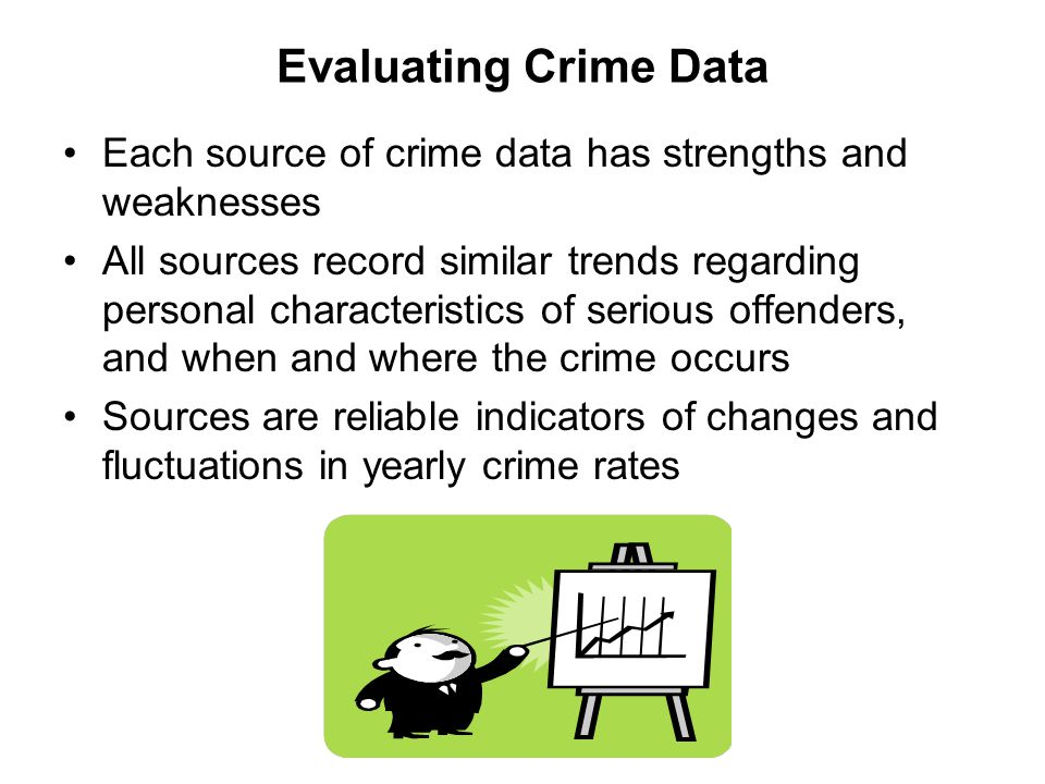 Evaluating Crime Data Each source of crime data has strengths and weaknesses.