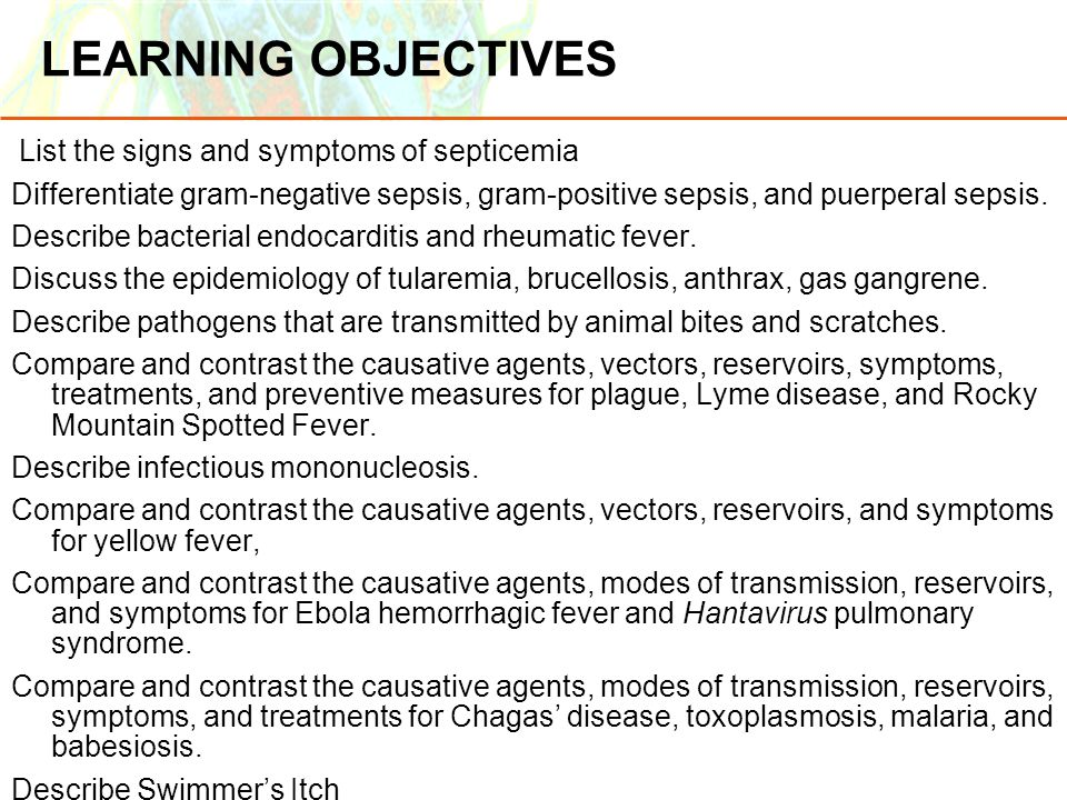 LEARNING OBJECTIVES List the signs and symptoms of septicemia