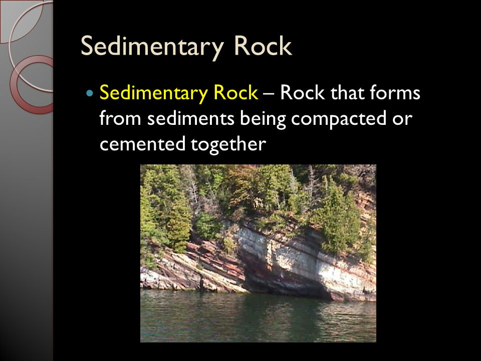 Sedimentary Rock Sedimentary Rock – Rock that forms from sediments being compacted or cemented together.