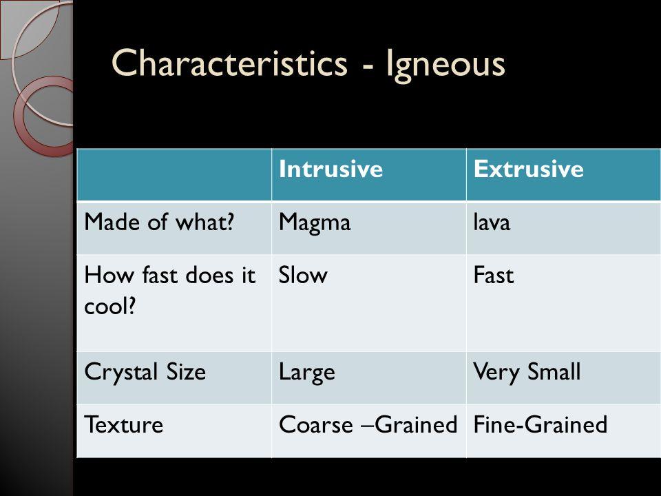 Characteristics - Igneous