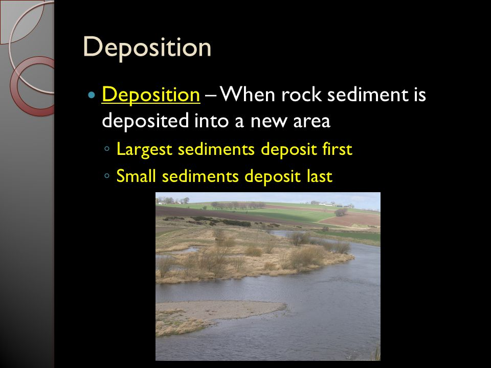 Deposition Deposition – When rock sediment is deposited into a new area. Largest sediments deposit first.