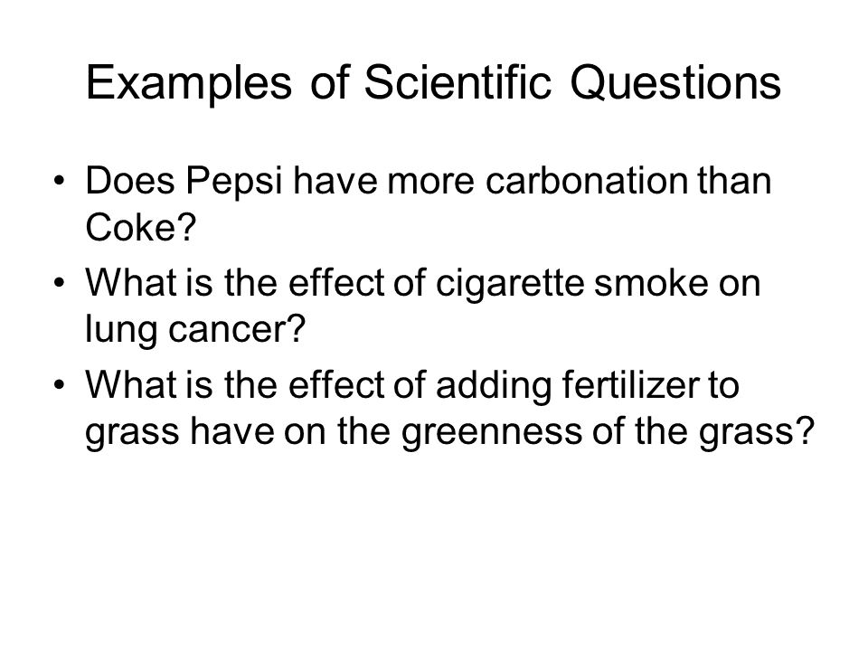 Examples of Scientific Questions