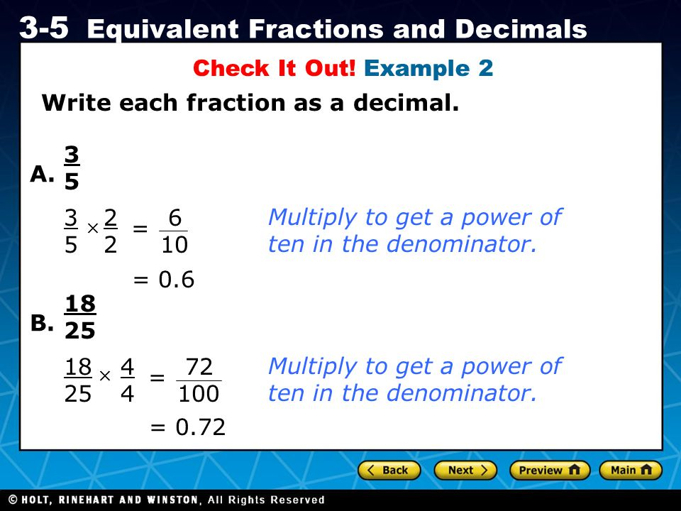 Write each fraction as a decimal.