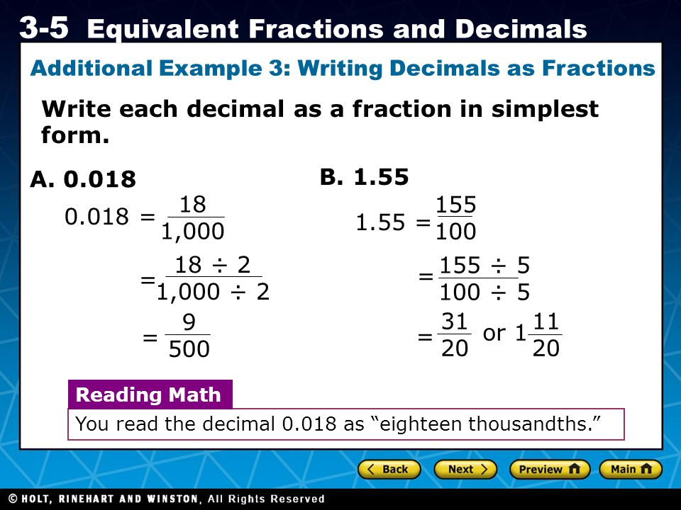 Additional Example 3: Writing Decimals as Fractions