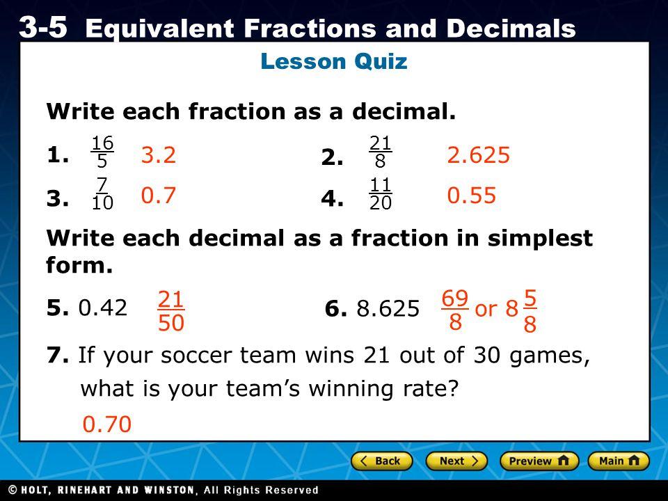 Write each fraction as a decimal. 1. 3. 4.