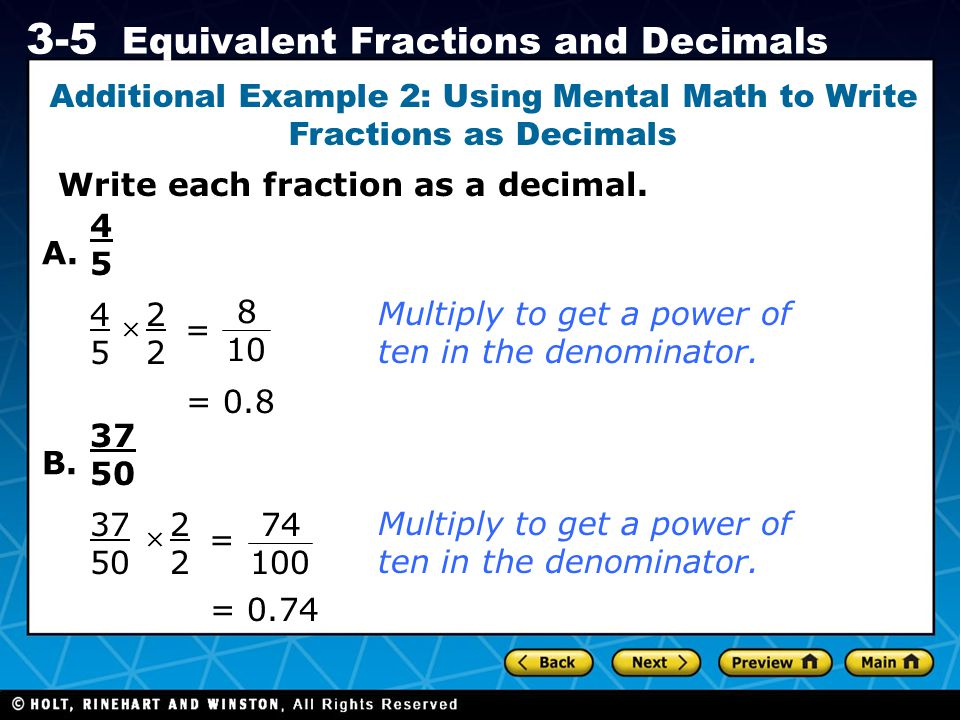 Additional Example 2: Using Mental Math to Write Fractions as Decimals