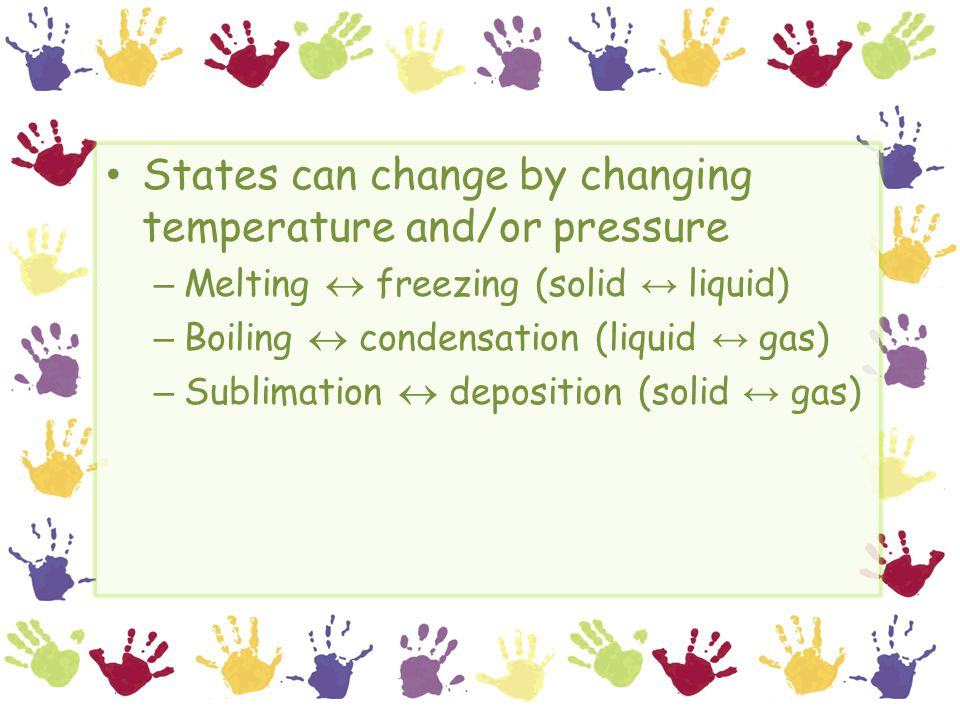 States can change by changing temperature and/or pressure