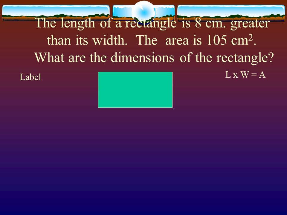 The length of a rectangle is 8 cm. greater than its width