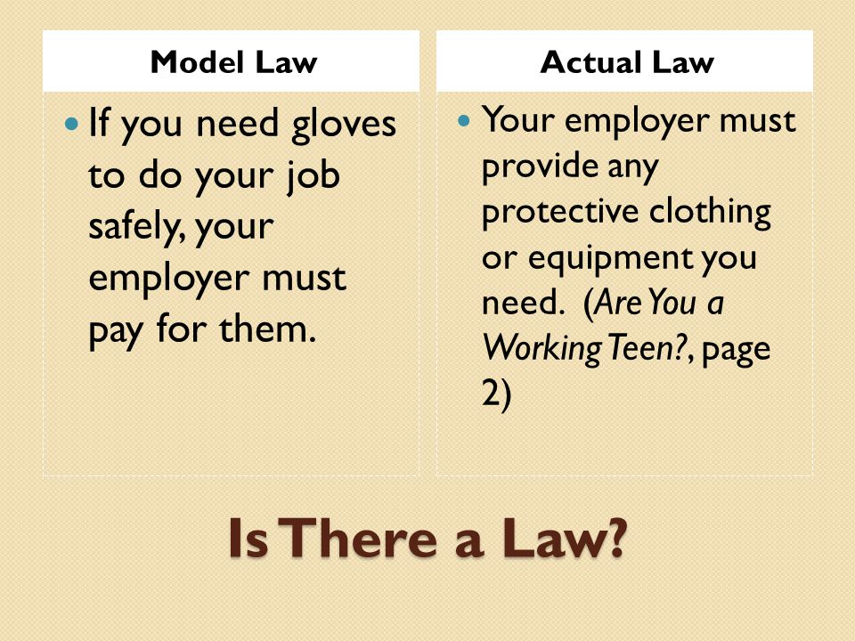 Model Law Actual Law. If you need gloves to do your job safely, your employer must pay for them.